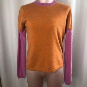 525 Colorblock Pink/Orange Cashmere Sweater